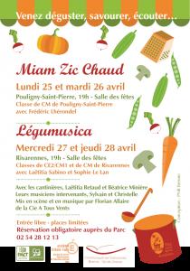 [CP PNR Brenne] _ 25 et 26 avril _ Miam Zic chaud à Pouligny-St-Pierre, 27 et 28 avril _ Légumusica à Rivarennes.